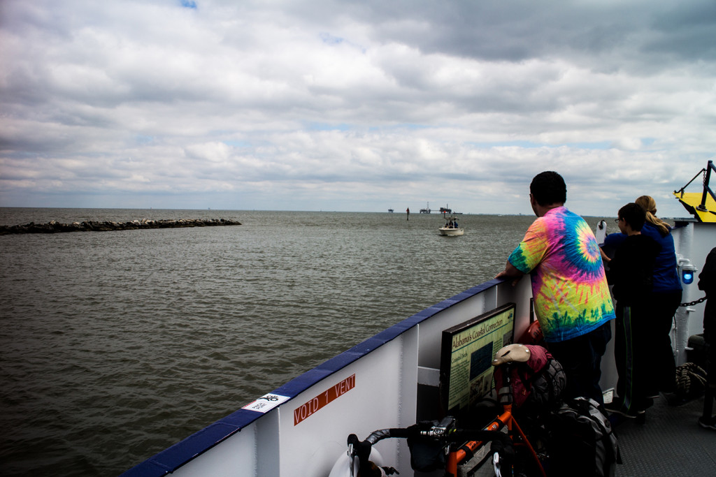 An unremarkable ferry ride made remarkable by a fat guys tie-dye t-shirt.
